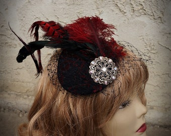 Red and Black Lace  Ostrich Pheasant Feather Fascinator