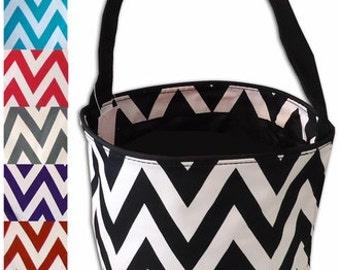 Monogrammed Bucket. Monogrammed Easter Basket,  Chevron Easter Basket,  Sand bucket, Gift bag,  personalized bag