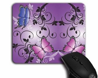 Cute Mouse Pad,Floral decor,Butterflies,Purple Butterfly,Cute Office Decor,Gift for Her,Butterfly Mousepad,MP-064