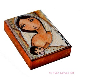 Maternity -  Giclee print mounted on Wood (5 x 7 inches) Folk Art  by FLOR LARIOS