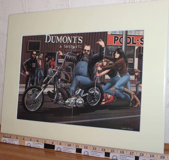 """David Mann """"Dumont's Push Start"""" 16'' x 20'' Matted Motorcycle Biker Art Poster #8601ezrxmc"""