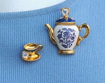 Reserved for maxisan19 - Avon Teapot Brooch and Single Teacup Earring Vintage