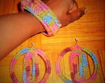 Don't Waste My Time, Crochet Earrings and Bracelet Set