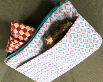 Mauve/aqua/white purse / clutch /  with zip closure and pocket