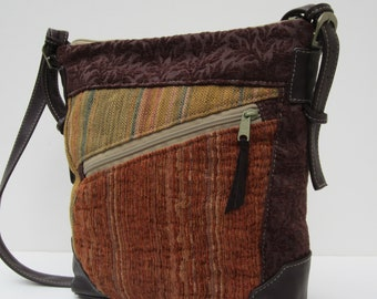 LARGE SHOULDER BAG by Elizabeth Z Mow  Fabric Collage with Leather Eclectic Medley Satchel