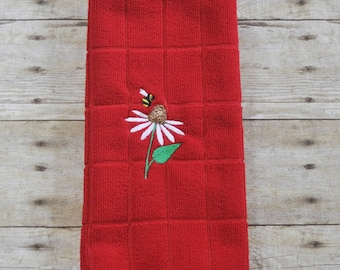Coneflower with bumble bee embroidered kitchen towel