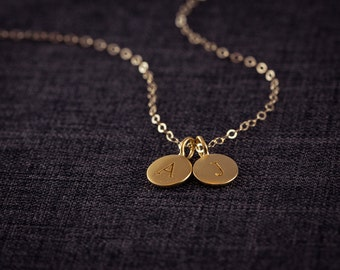 24K Gold Letter Necklace, (2) Two Initial Necklace, Personalized Necklace,  Name, Gold Necklace, Circle Disc Charm