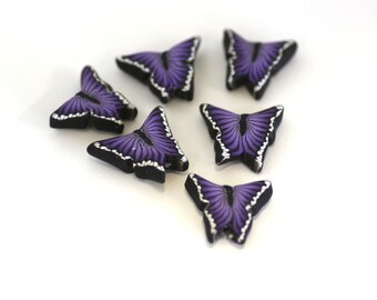 Purple Butterfly Beads, Polymer Clay Cane Beads, Plum Flutterbye 6 Pieces