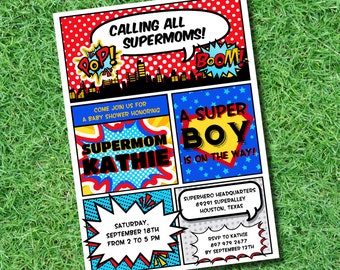 Superhero BABY Shower Printable 5 x 7 inch Invitation, INSTANT DOWNLOAD, You Edit Yourself with Adobe Reader