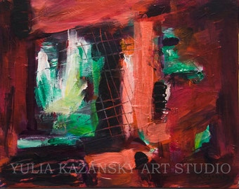 Original acrylic abstract painting Window Red Green Black painting Bright colors painting Modern abstract art Small abstract painting