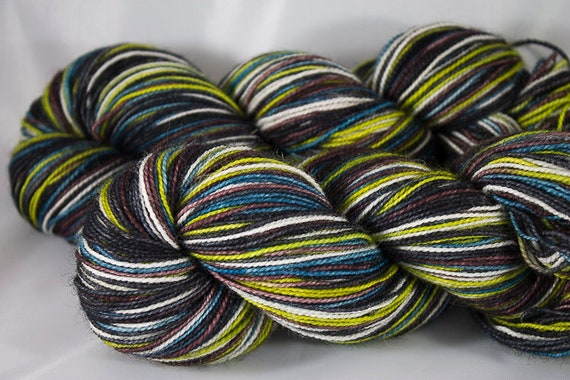 Toil and Trouble Self Striping Yarn, Blue Faced Leicester Self Striping Sock Yarn, Hand Dyed Striping Sock Yarn