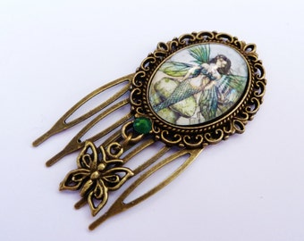 Small Hair Comb with mermaid, fantasy hair comb, girl hair accessoires, bronze, butterfly