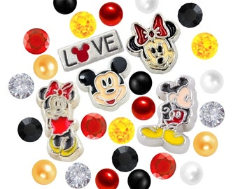 Mickey and Minnie Inspired Floating Charms Set W/Crystals