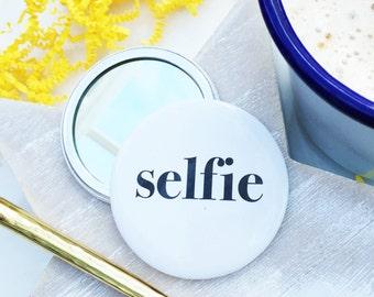 Selfie Pocket Mirror - Fun pocket mirror -  Pocket Mirror - Compact Mirror - Black and white - monochrome - Scandi - Handbag mirror