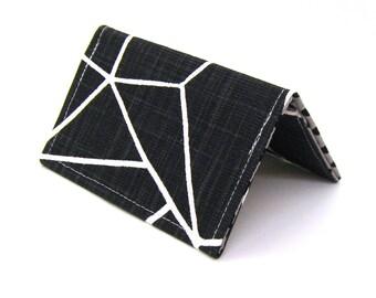 Mini Wallet / Card Holder / Business Card Holder / Card Case / Gift Card Holder/ Small Wallet - Black Shattered