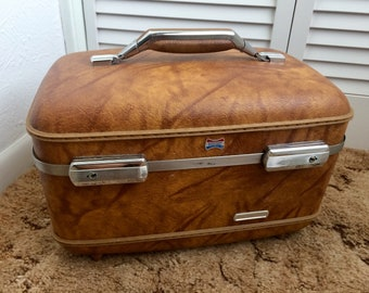 American Tourister Train Case, Brown Marble Train Case, Vintage Train Case/Luggage, Brown Travel Vanity