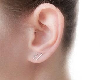 Silver Stud Earrings set - Silver Bar Earrings - Silver Line Earrings - Staple Earrings - Minimalist Line Earrings, Edgy earrings - Bar Post