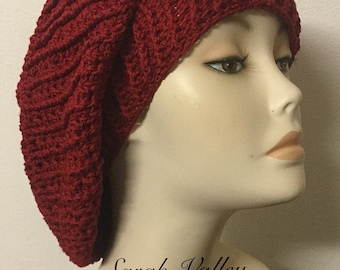 Women's slouchy hat, slouchy beret gift, slouchy beret women, baggy knit beret, crochet slouchy beret, red hat gift idea for her