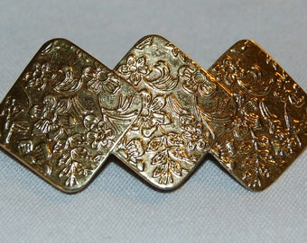 Barrette Hair Clip, Gold Tone Metal, Vintage old jewelry