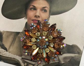 Vintage Juliana Brooch, Vintage Estate Jewelry, Large Juliana Rhinestone Brooch