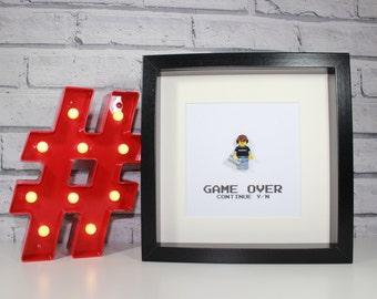 RETRO GAMING GUY - Framed Lego minifigure - Playstation / XBox / Nintendo / Sega