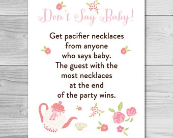 Garden Tea Party  Baby Shower Game - Don't Say Baby - Instant Download Printable - Baby Girl