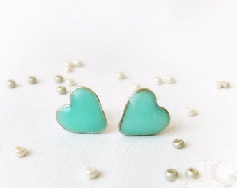 Mint stud earrings Valentine gift Tiny hearts, Mint green ear posts, Heart studs, Hearts jewelry, Gift for her, Blue erposts, Small gift