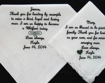 Embroidered Wedding Handkerchief for Mother of the Groom and Father of the Groom