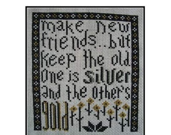 PDF E pattern emailed Friends Campfire Song Sampler Cross Stitch Pattern 113