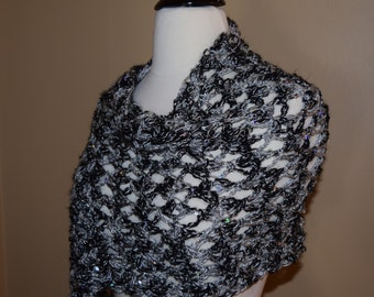 Black & Silver Sequined Crochet Shawl