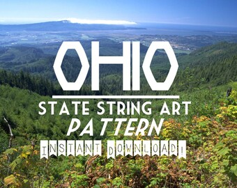 """OHIO - DIY State String Art Pattern  - 9"""" x 9"""" - Hearts & Stars included"""