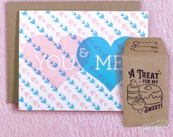 Letterpress Love Greeting Card and Gift Card Holder-  You & Me Gifts for Him / Gifts for Her