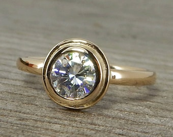 Moissanite Halo Engagement Ring - Forever One GHI Moissanite & Recycled 14k Yellow Gold - Delicate, Petite - Ethical, Conflict-Free
