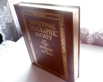 The National Geopgraphic Society 100 Years of Adventure and Discovery/ Vintage Leather Bound Book
