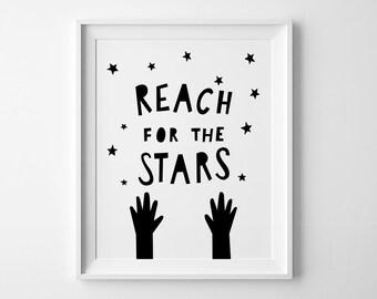 Scandinavian art, Reach for the Stars, nursery wall art, typography print, wall print, nursery print, nursery wall decor black and white art