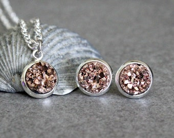 Rose Gold Necklace Set, Rose Gold Earrings, Rose Gold Druzy Earring, Rose Gold Pendant Necklace, Rose Gold Druzy Necklace, Gold Necklace 8MM