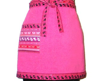 Terry Cloth Half Apron Kitty Cat Bling  Reversible