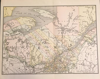 1890 Map of Quebec, Original Antique Color Map by Rand McNally
