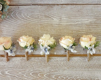 Peach rose  boutonniere Ivory rose and  Groom Buttonhole Lapel pin Groomsmen Flower