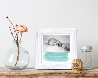 Customizable Watercolor Birth Announcement (Digital File)