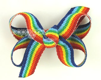 Baby Hair Bow, Rainbow Hair Bow - Extra Small Hair Bows, Newborn Hair Bows, Baby Bows, Infant Hair Bows Mini Snap Clip, Fine Hair, Tiny Bows