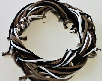 T Shirt Scarf - Infinity Circle Scarves Recycled Cotton Black White Chocolate Coffee Dark Brown Tan Khaki Beige Neutral Necklace Casual