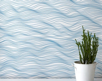 Linear Waves Wallpaper, Waves Wallpaper, Blue Wallpaper, Home Decoration, Coast Inspired Wallpaper