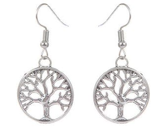 Silver Simple Tree of Life Dangle Earring