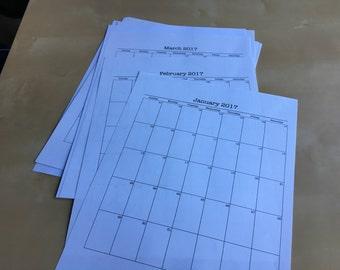 Printable Black and White Letter Sized 2017 Calendar. Instant Download. Portrait Calendar