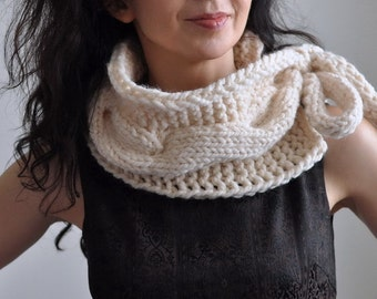 Twist Me Around - hand knit chunky cable texture neckwarmer scarf collar cowl wrap with large tie bow in natural cream or CHOOSE YOUR COLOR