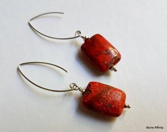 Red Jasper Rectangle, Sterling Silver, Dangle Earrings, Fish Hook