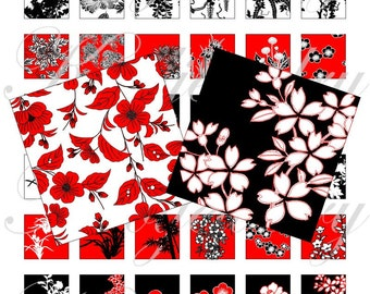 Flamenco Flowers 1x1 inch for pendant, scrapbook and more Digital Collage Sheet No.921