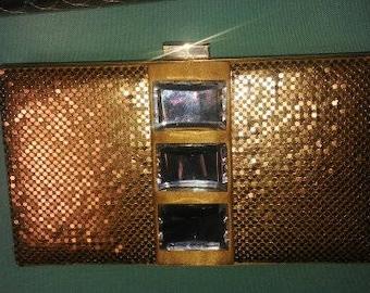 KATE LANDRY  Gold Mesh & Large Rhinestone Crystal Clutch Purse