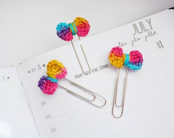 Crochet Mini Bow Planner Clip / Bookmark - Set of 3 - Rainbow | Stationery for Erin Condren, Filofax, Kikki K